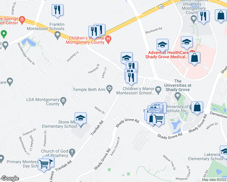 map of restaurants, bars, coffee shops, grocery stores, and more near 10157 Treble Court in Rockville