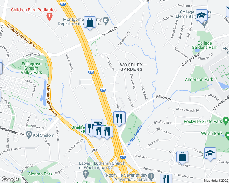map of restaurants, bars, coffee shops, grocery stores, and more near Azalea Drive in Rockville