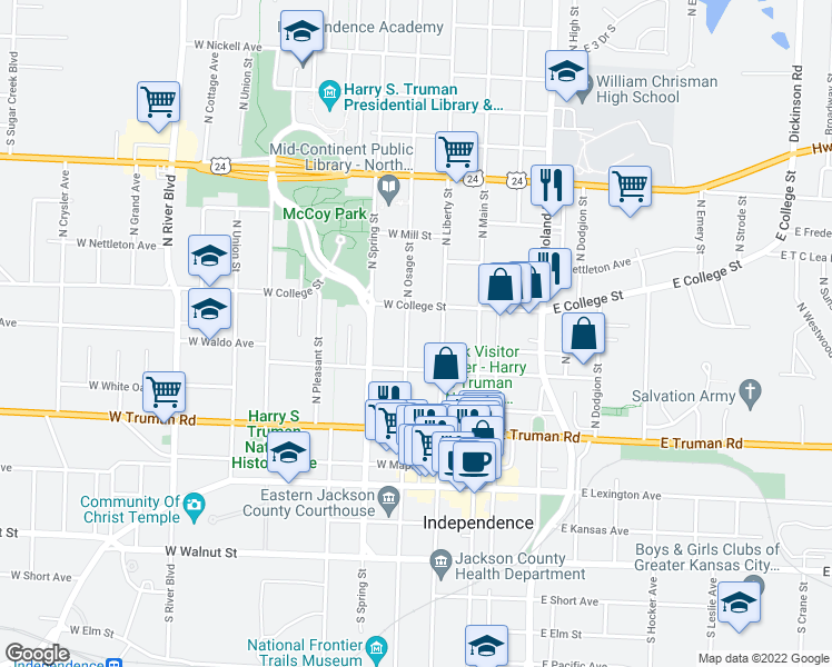 map of restaurants, bars, coffee shops, grocery stores, and more near 525 North Osage Street in Independence