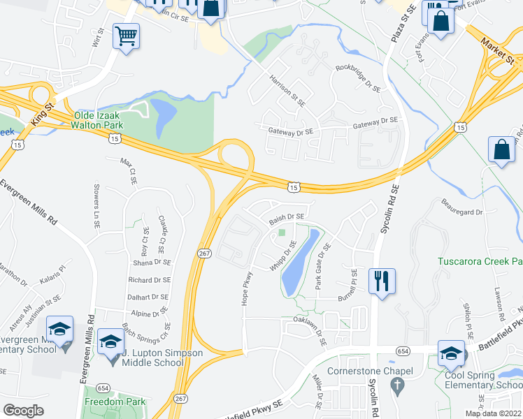 map of restaurants, bars, coffee shops, grocery stores, and more near 406 Rusert Drive Southeast in Leesburg