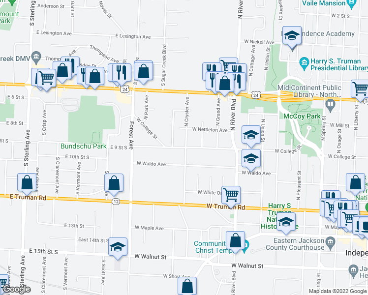 map of restaurants, bars, coffee shops, grocery stores, and more near 1216 West Waldo Avenue in Independence
