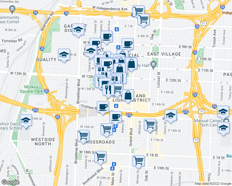 map of restaurants, bars, coffee shops, grocery stores, and more near Main Street in Kansas City
