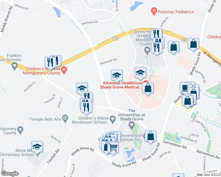 map of restaurants, bars, coffee shops, grocery stores, and more near 10041-10097 Medical Center Drive in Rockville