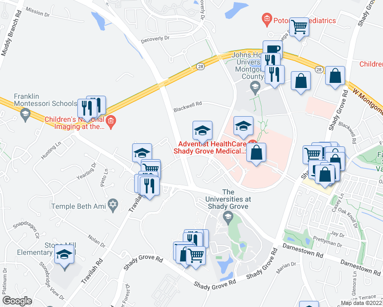 map of restaurants, bars, coffee shops, grocery stores, and more near 9977-10099 Medical Center Drive in Rockville