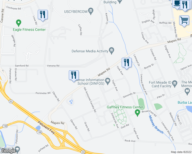 map of restaurants, bars, coffee shops, grocery stores, and more near 4750 Mapes Road in Fort Meade