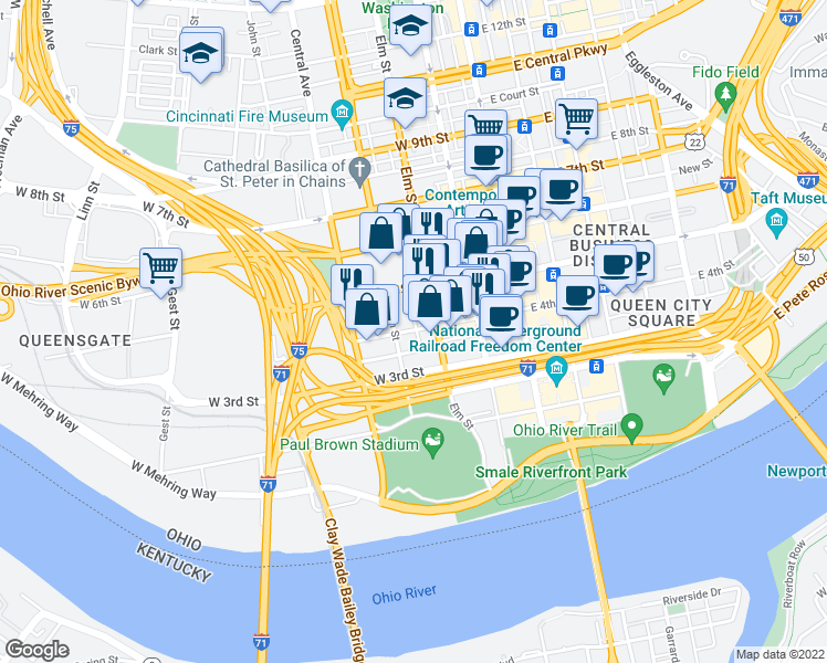 map of restaurants, bars, coffee shops, grocery stores, and more near 317-399 Plum Street in Cincinnati