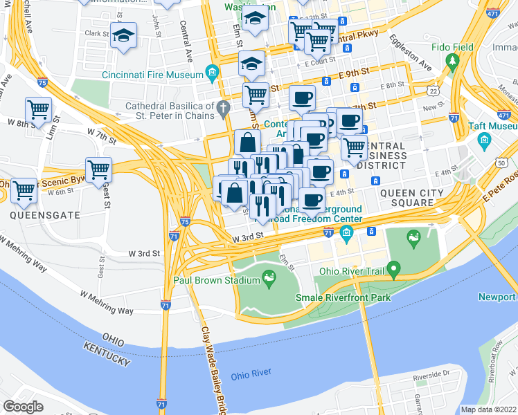 map of restaurants, bars, coffee shops, grocery stores, and more near W 4th St in Cincinnati