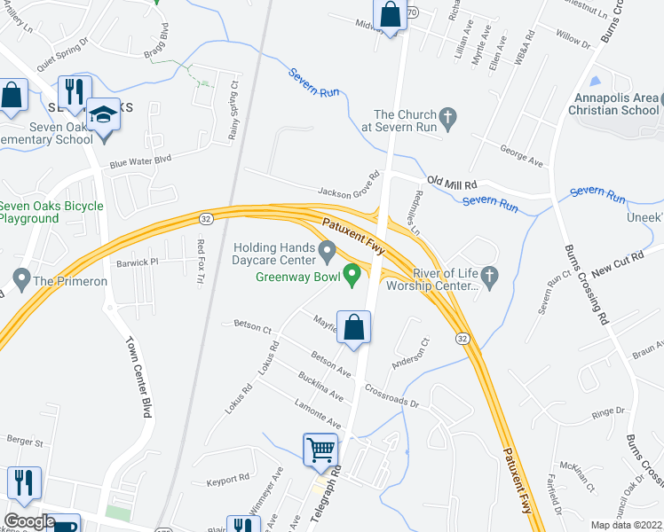 map of restaurants, bars, coffee shops, grocery stores, and more near 8250 Lokus Road in Odenton
