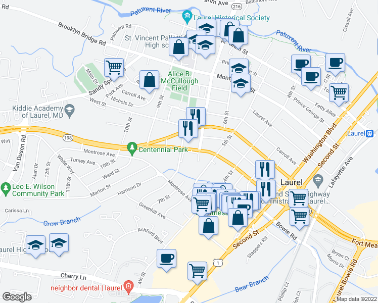 map of restaurants, bars, coffee shops, grocery stores, and more near 600 8th Street in Laurel