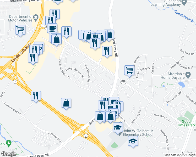 map of restaurants, bars, coffee shops, grocery stores, and more near 562 Kalmia Square Northeast in Leesburg
