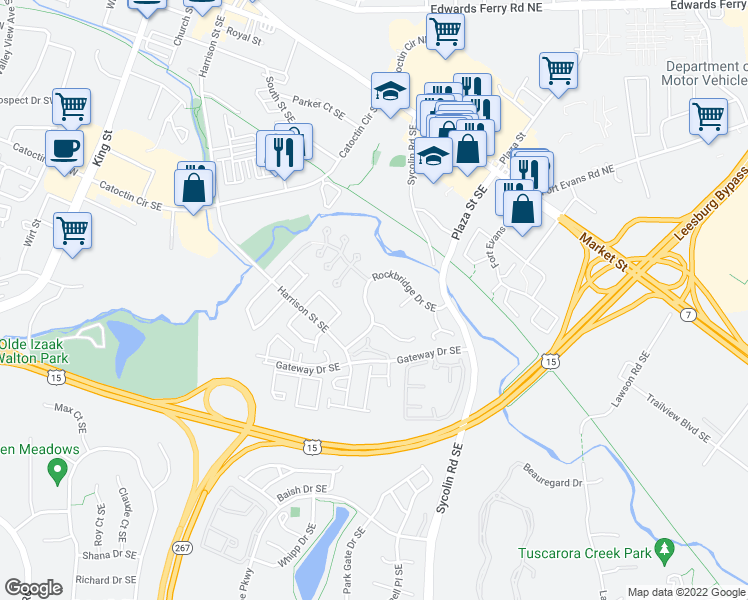 map of restaurants, bars, coffee shops, grocery stores, and more near 555 Rockbridge Drive Southeast in Leesburg