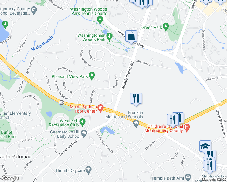 map of restaurants, bars, coffee shops, grocery stores, and more near 106 Midsummer Drive in Gaithersburg