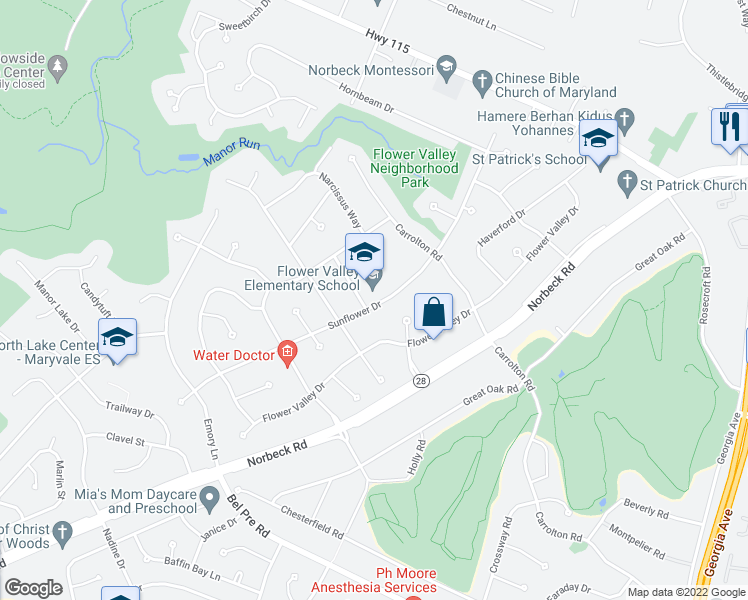 map of restaurants, bars, coffee shops, grocery stores, and more near 4632 Sunflower Drive in Rockville