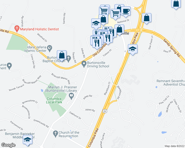 map of restaurants, bars, coffee shops, grocery stores, and more near 15112 Liberty Grove Drive in Burtonsville