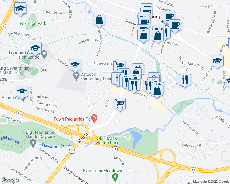 map of restaurants, bars, coffee shops, grocery stores, and more near 8 First Street Southwest in Leesburg