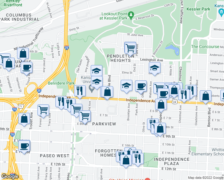 map of restaurants, bars, coffee shops, grocery stores, and more near 511 Maple Boulevard in Kansas City