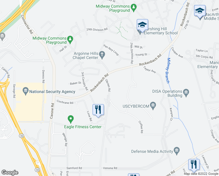 map of restaurants, bars, coffee shops, grocery stores, and more near Obrien Road in Fort Meade