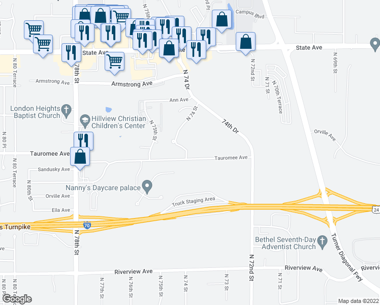 map of restaurants, bars, coffee shops, grocery stores, and more near 607 North 74th Street in Kansas City