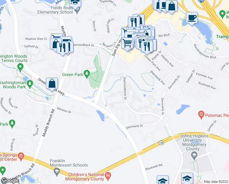 map of restaurants, bars, coffee shops, grocery stores, and more near 10024 Vanderbilt Circle in Rockville