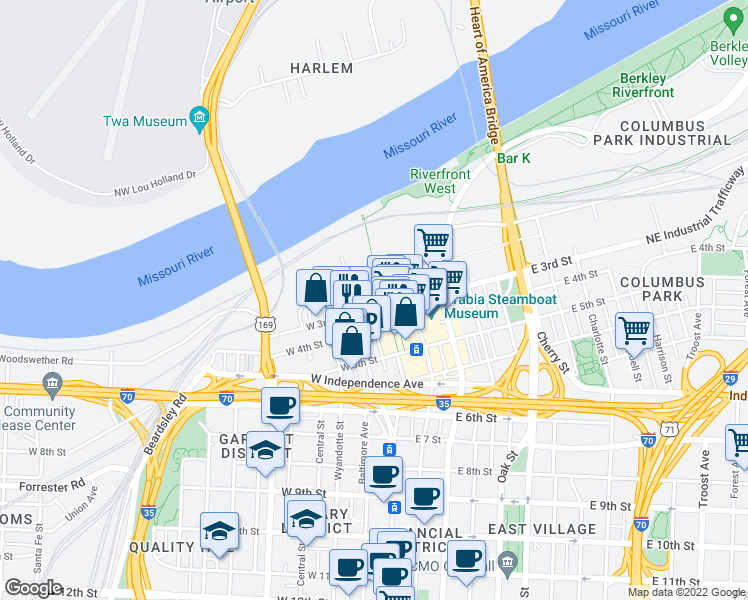 map of restaurants, bars, coffee shops, grocery stores, and more near 6 West 3rd Street in Kansas City