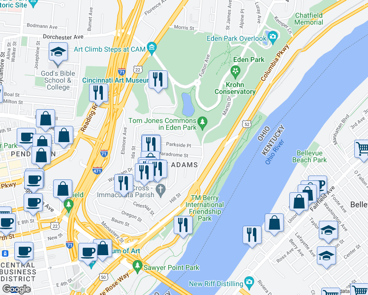 map of restaurants, bars, coffee shops, grocery stores, and more near 1001 Parkside Place in Cincinnati