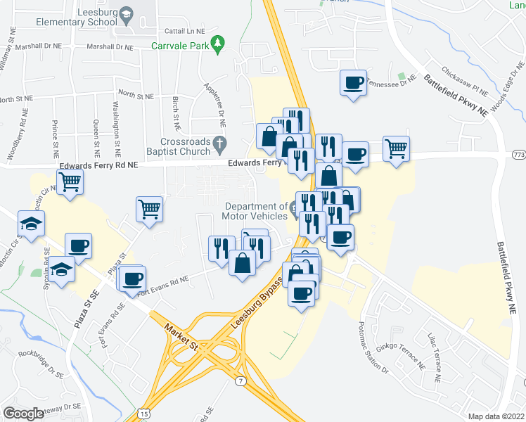 map of restaurants, bars, coffee shops, grocery stores, and more near 125 Paddington Way Northeast in Leesburg