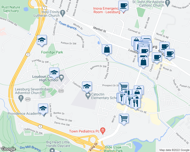 map of restaurants, bars, coffee shops, grocery stores, and more near 306 Lafayette Terrace Southwest in Leesburg
