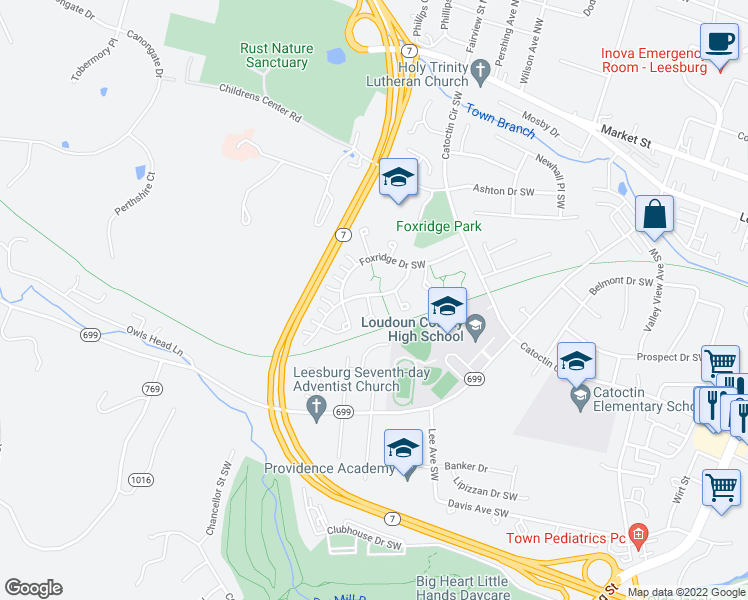 map of restaurants, bars, coffee shops, grocery stores, and more near 344 Deer Path Avenue Southwest in Leesburg