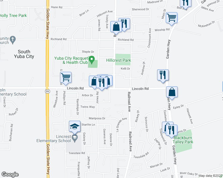 map of restaurants, bars, coffee shops, grocery stores, and more near 901 Lincoln Road in Yuba City