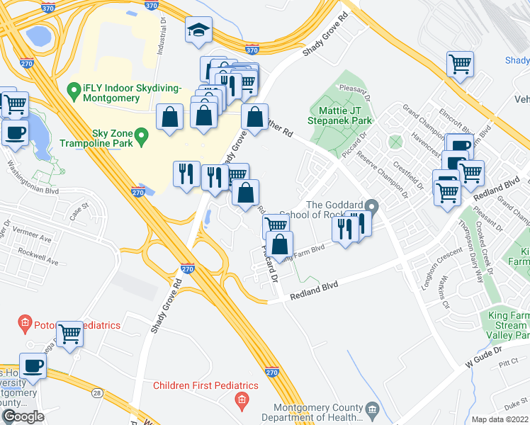 map of restaurants, bars, coffee shops, grocery stores, and more near 2 Choke Cherry Road in Rockville