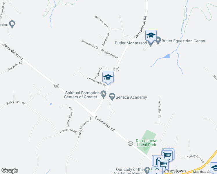 map of restaurants, bars, coffee shops, grocery stores, and more near 15500-15818 Germantown Road in Darnestown