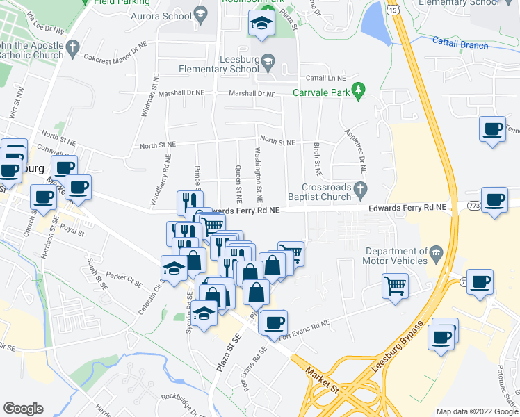 map of restaurants, bars, coffee shops, grocery stores, and more near 9 Washington Street Northeast in Leesburg