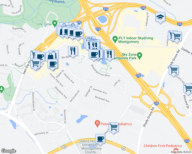 map of restaurants, bars, coffee shops, grocery stores, and more near 9702 Athletic Way in Gaithersburg