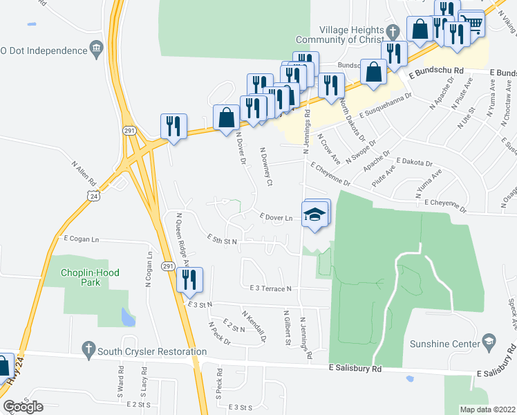 map of restaurants, bars, coffee shops, grocery stores, and more near 16995 East Dover Lane in Independence