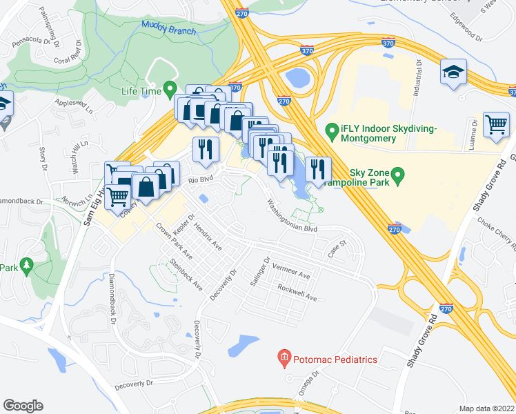 map of restaurants, bars, coffee shops, grocery stores, and more near 9701 Fields Road in Gaithersburg