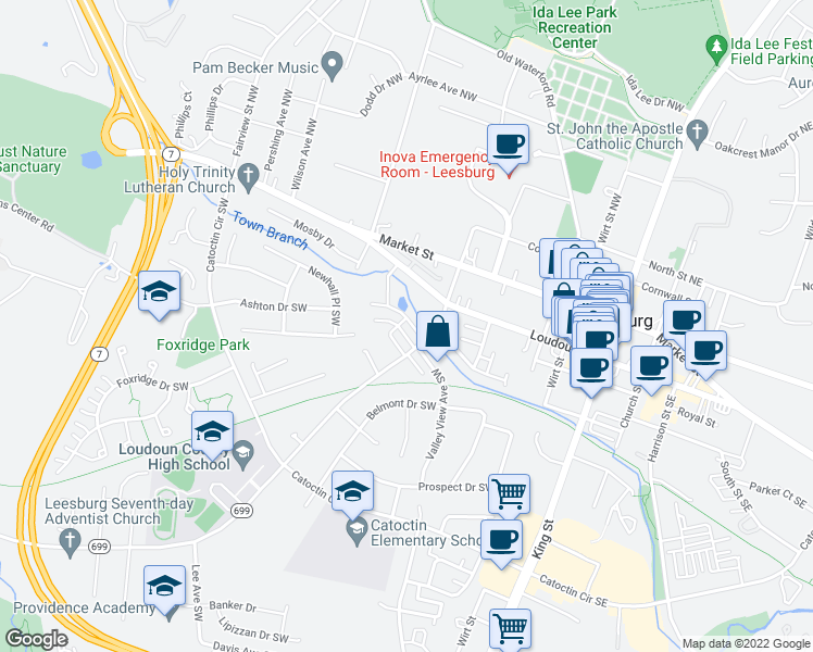 map of restaurants, bars, coffee shops, grocery stores, and more near 322 Rock Spring Drive Southwest in Leesburg