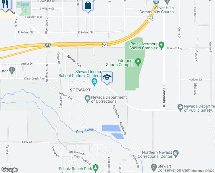 map of restaurants, bars, coffee shops, grocery stores, and more near 5303-5599 Snyder Avenue in Carson City