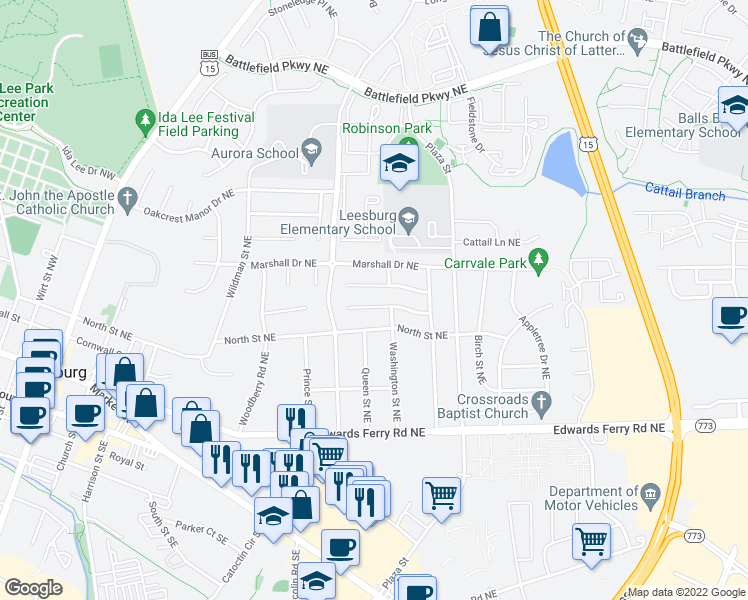 map of restaurants, bars, coffee shops, grocery stores, and more near 628 Nathan Place Northeast in Leesburg