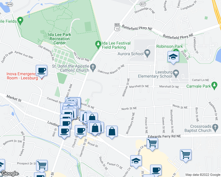 map of restaurants, bars, coffee shops, grocery stores, and more near 487 Marshall Drive Northeast in Leesburg