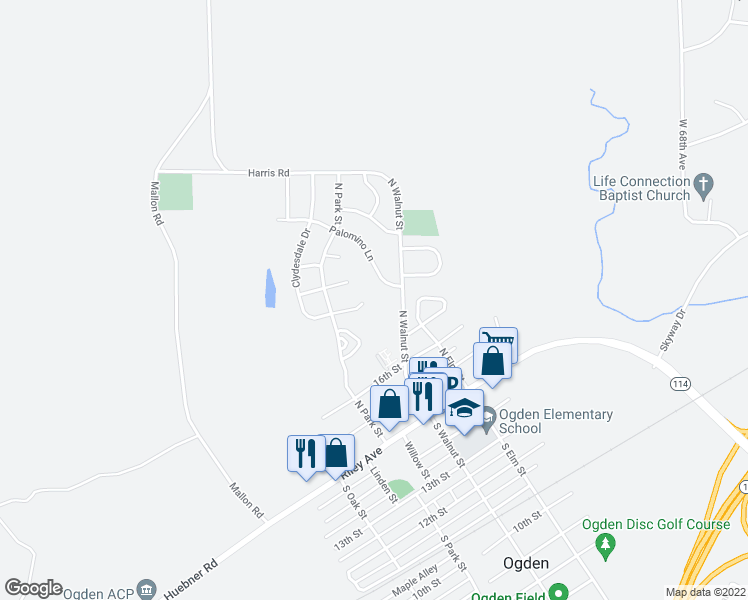 map of restaurants, bars, coffee shops, grocery stores, and more near 316 Clydesdale Circle in Ogden