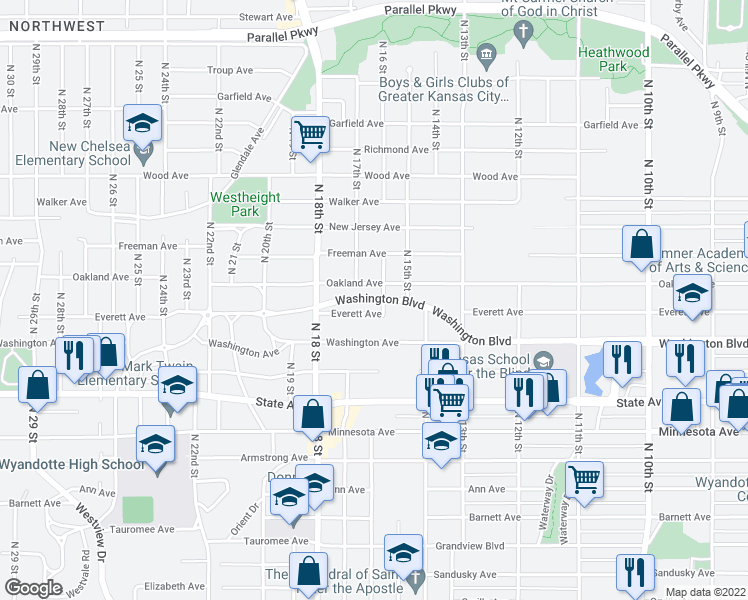 map of restaurants, bars, coffee shops, grocery stores, and more near 1621 Washington Boulevard in Kansas City