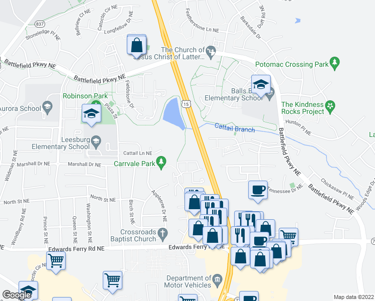 map of restaurants, bars, coffee shops, grocery stores, and more near Leesburg Bypass in Leesburg