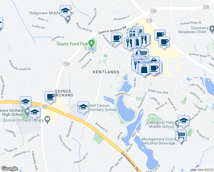 map of restaurants, bars, coffee shops, grocery stores, and more near 122 Treehaven Street in Gaithersburg