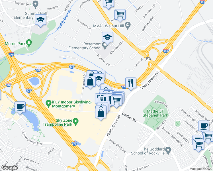 map of restaurants, bars, coffee shops, grocery stores, and more near 9030 Comprint Court in Gaithersburg