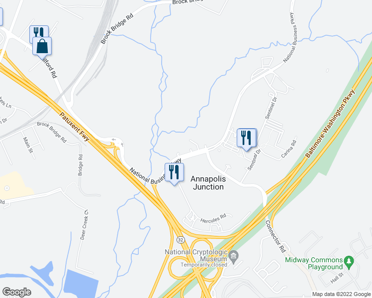 map of restaurants, bars, coffee shops, grocery stores, and more near 112 National Business Parkway in Annapolis Junction