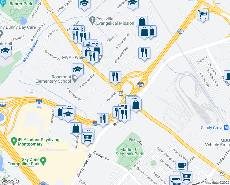 map of restaurants, bars, coffee shops, grocery stores, and more near 884 South Frederick Avenue in Gaithersburg