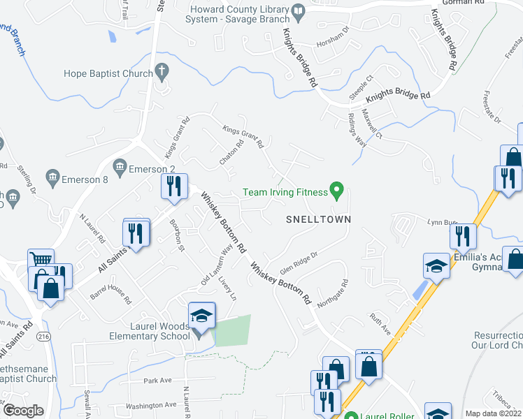 map of restaurants, bars, coffee shops, grocery stores, and more near 9873 Harmony Lane in Laurel