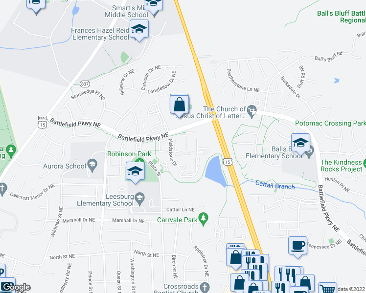 map of restaurants, bars, coffee shops, grocery stores, and more near 507 Currant Terrace Northeast in Leesburg