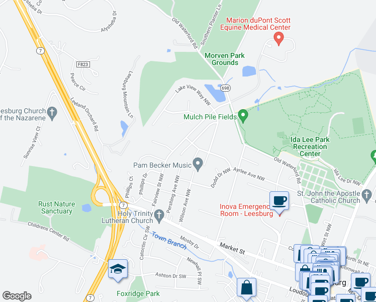 map of restaurants, bars, coffee shops, grocery stores, and more near 103 Fox Trot Way Northwest in Leesburg