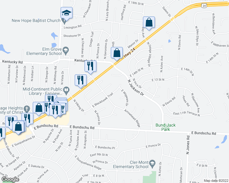map of restaurants, bars, coffee shops, grocery stores, and more near 18708 East Blackhawk Trail in Independence